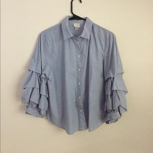 Target blue/white ruffle sleeve button down blouse
